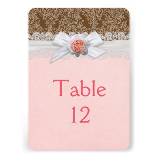 Luxury Rose Ribbon Brown Damask Table card