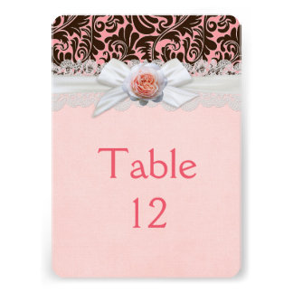 Luxury Rose Ribbon Chocolate Damask Table card