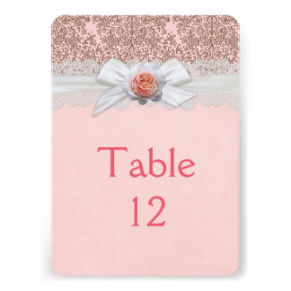 Luxury Rose Ribbon Delicate Damask Table card