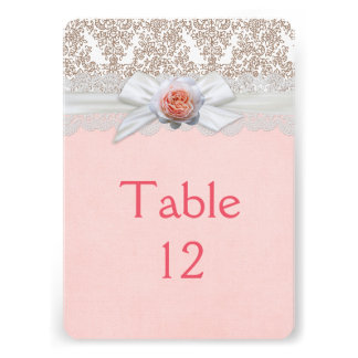 Luxury Rose Ribbon Lace Damask Table card