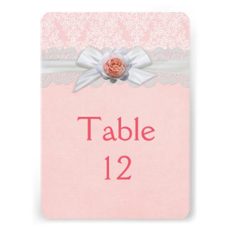Luxury Rose Ribbon Pink Damask Table card