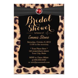 Luxury Ruby Gems Leopard Print Bridal Shower Personalized Invitation