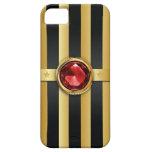 Luxury Ruby Gemstone Gold Stripes iPhone 5 Case