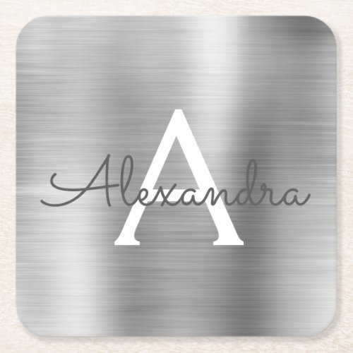 Luxury Silver Brushed Metal Monogram Name Initial Square Paper Coaster