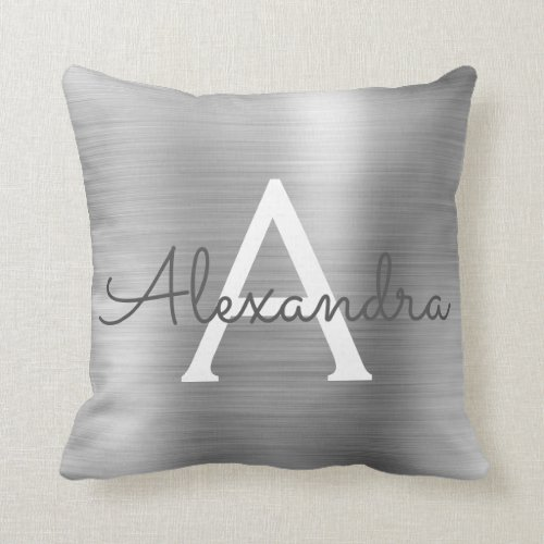 Luxury Silver Brushed Metal Monogram Name Initial Throw Pillow