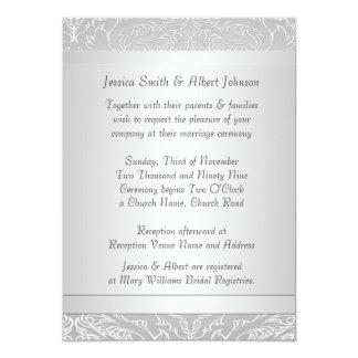 Luxury Silver Elegant Damask  Wedding Invite