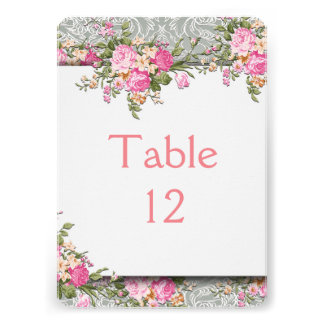 Luxury Silver Floral Damask Table card