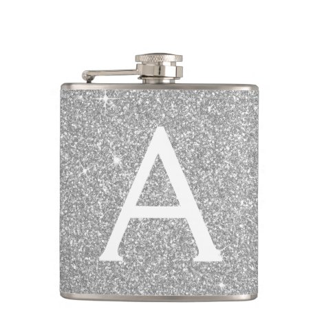 Luxury Silver Glitter and Sparkle Monogram Flask