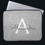 "Luxury Silver Glitter and Sparkle Monogram Laptop Sleeve<br><div class=""desc"">Luxury Silver Faux Glitter and Sparkle Elegant Monogram Case. This case can be customized to include your initial and first name.</div>"