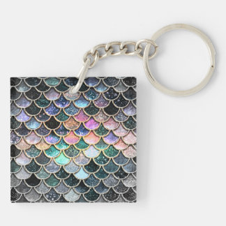 Luxury silver Glitter Mermaid Scales Keychain