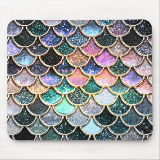 Luxury silver Glitter Mermaid Scales Mouse Pad