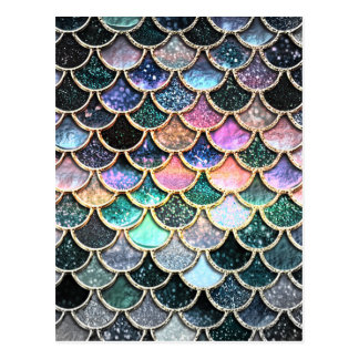 Luxury silver Glitter Mermaid Scales Postcard