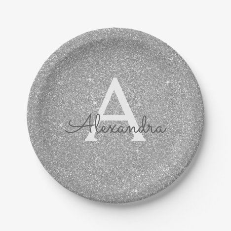 Luxury Silver Glitter & Sparkle Monogram Birthday Paper Plate