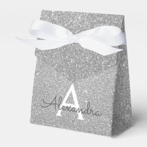 Luxury Silver Glitter & Sparkle Monogram Favor Box