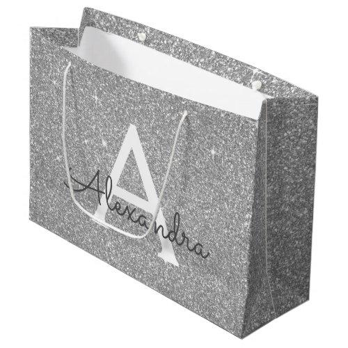 Luxury Silver Glitter & Sparkle Monogram Large Gift Bag