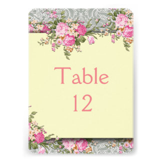 Luxury Silver/Ivory Floral Damask Table card