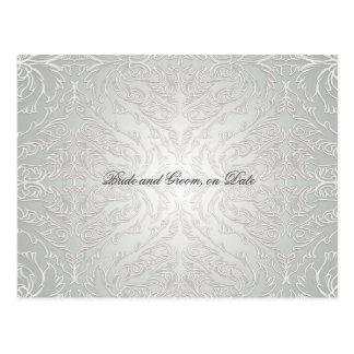 Luxury Silver Lace Damask Save date card Postcard