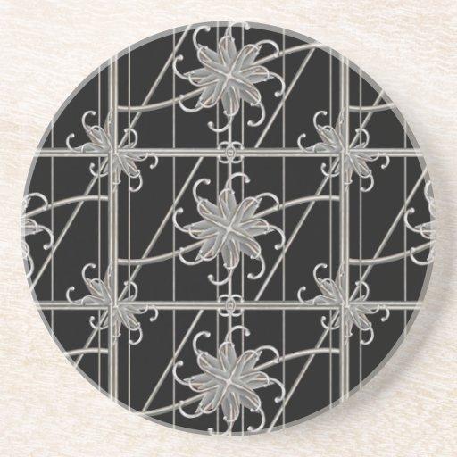 Luxury Silver Ornamental Pattern Drink Coaster