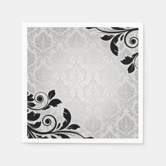 Luxury Silver Romantic Damask Napkins