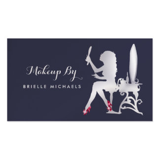 Luxury Silver Woman Makeup Artist Red Glitz Shoes Business Card