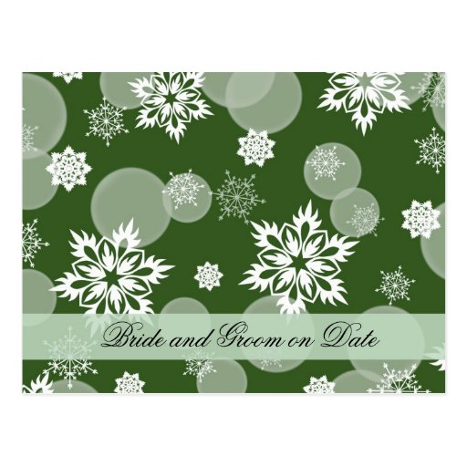 Luxury Snowflakes Winter Green Save date card