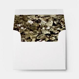 Luxury sparkly gold color liner wedding envelope