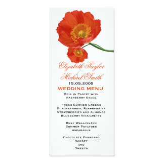 Luxury Spring Poppy Floral Wedding Menu Card