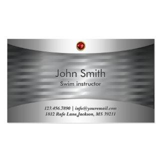 Luxury Steel Swim Instructor Business Card