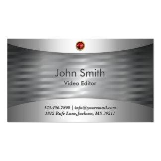 Luxury Steel Video Editor Business Card