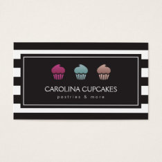 Luxury Striped Cupcake Trio Bakery Business Card at Zazzle