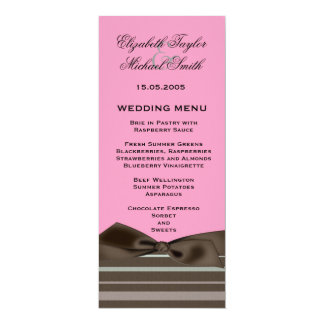 Luxury Style Brown Ribbon Pink Wedding Menu 4x9.25 Paper Invitation Card