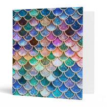 Luxury summerly multicolor Glitter Mermaid Scales 3 Ring Binder
