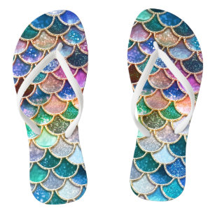 19d2af35567a Luxury summerly multicolor Glitter Mermaid Scales Flip Flops