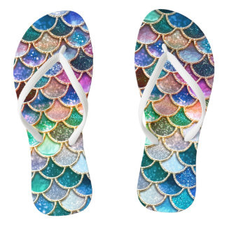 Luxury summerly multicolor Glitter Mermaid Scales Flip Flops