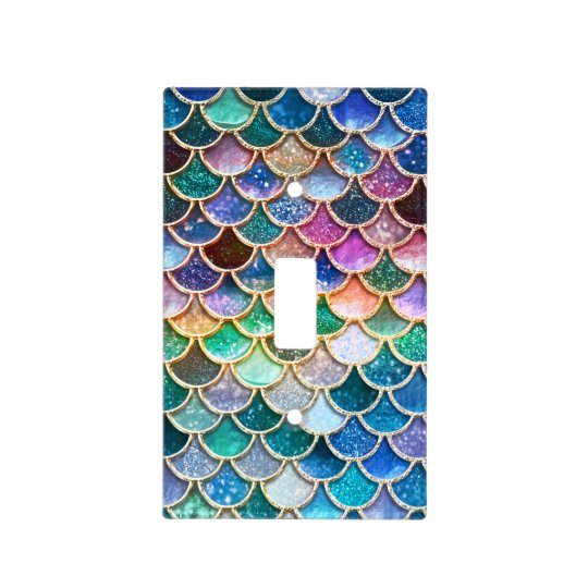 386867f47a9e5 Luxury summerly multicolor Glitter Mermaid Scales Light Switch Cover ...