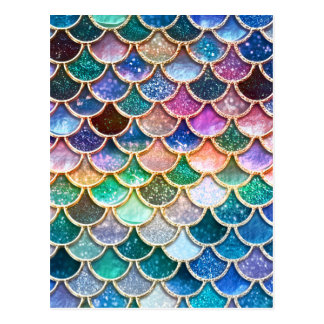 Luxury summerly multicolor Glitter Mermaid Scales Postcard