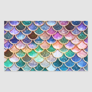 Luxury summerly multicolor Glitter Mermaid Scales Rectangular Sticker