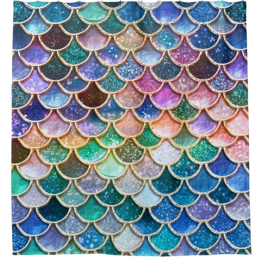 c3e9e559af130 Luxury summerly multicolor Glitter Mermaid Scales Shower Curtain ...