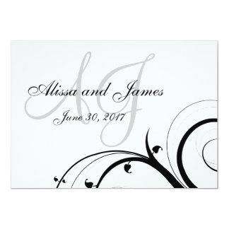 "Luxury Swirl Double Monogram WeddingInvite 5"" X 7"" Invitation Card"