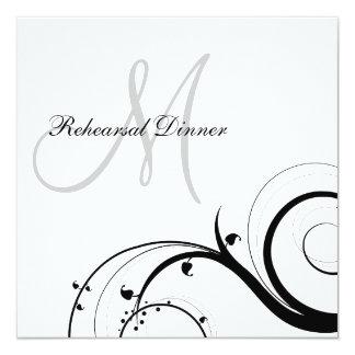 "Luxury Swirl Monogram Rehearsal Dinner Invitations 5.25"" Square Invitation Card"