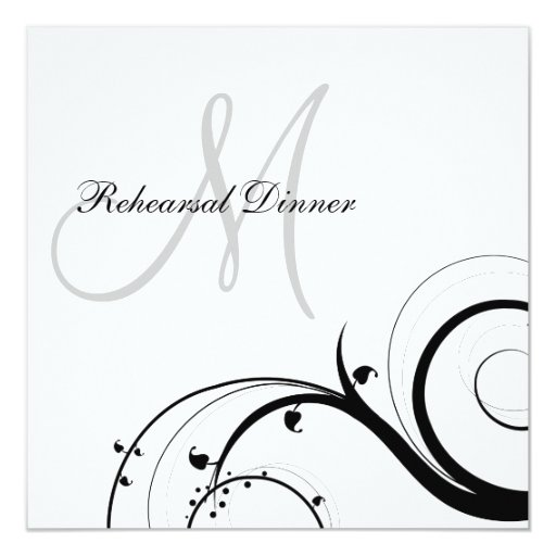 Luxury Swirl Monogram Rehearsal Dinner Invitations