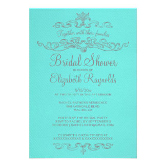 Luxury Teal & Silver Bridal Shower Invitations Custom Invitations