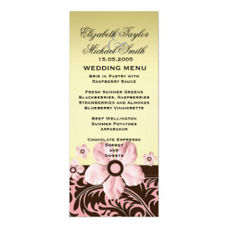 Luxury Trendy Gold Floral Damask Wedding Menu Card