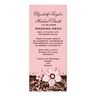 Luxury Trendy Pink Floral Damask Wedding Menu Card