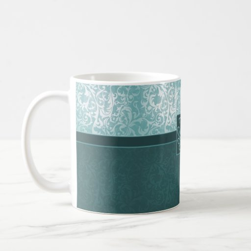 Luxury Turquoise Floral Damask Mug