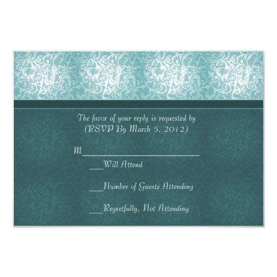 Luxury Turquoise Floral Damask RSVP card