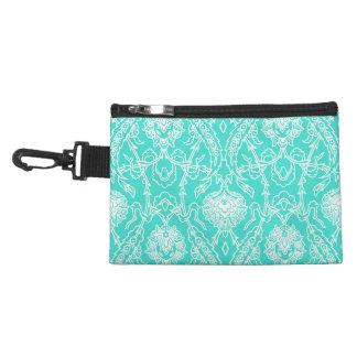 Luxury Turquoise & White Damask Decorative Pattern Accessory Bags