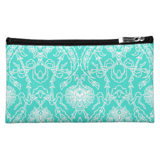Luxury Turquoise & White Damask Decorative Pattern Cosmetic Bag