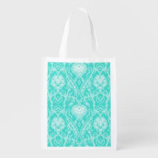 Luxury Turquoise & White Damask Decorative Pattern Grocery Bag