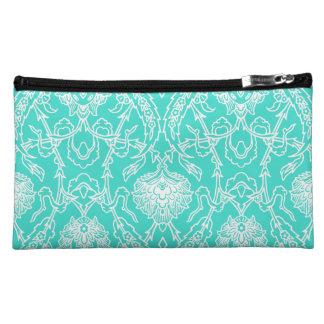 Luxury Turquoise & White Damask Decorative Pattern Makeup Bag